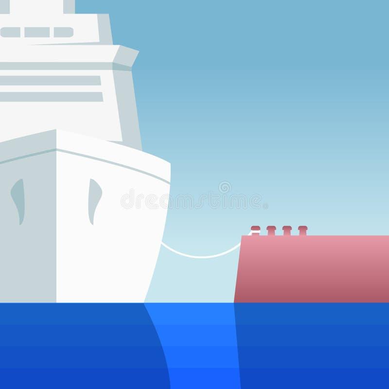 Rejsu liniowiec cumujący molo ilustracja wektor
