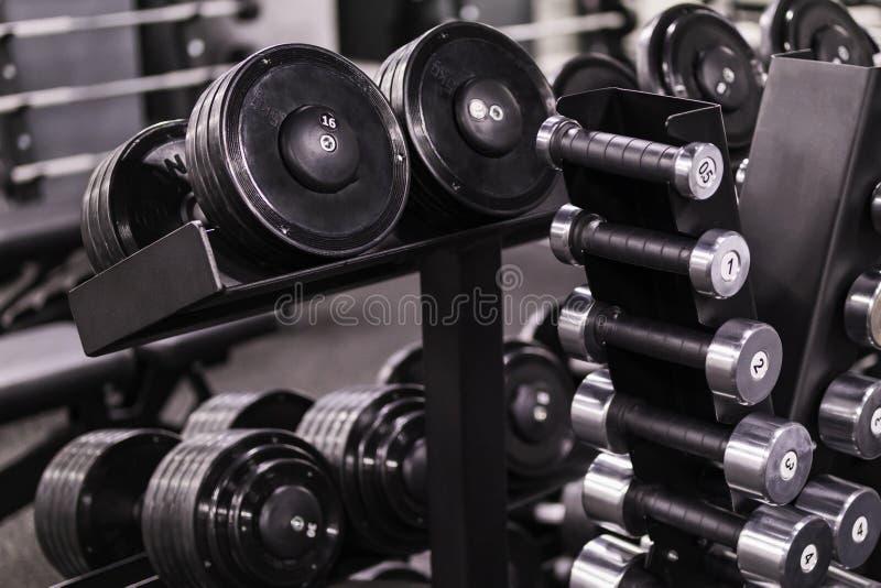 Rek met gewichten en domoren van verschillende gewichten stock fotografie