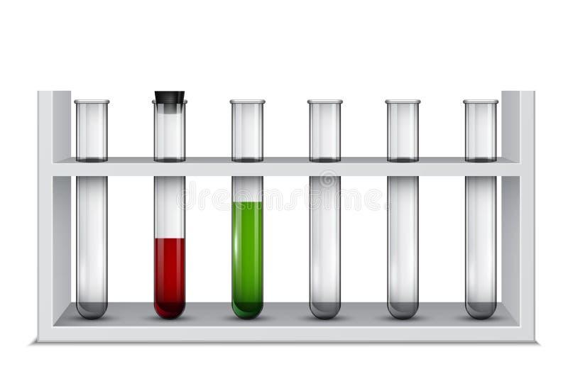 Rek met laboratoriumreageerbuizen, medische flessen stock illustratie