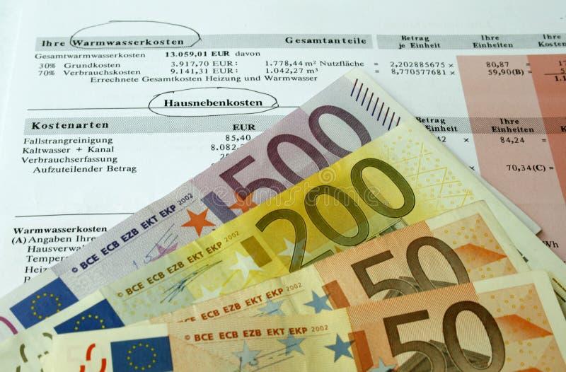 Rekening en euro royalty-vrije stock afbeelding