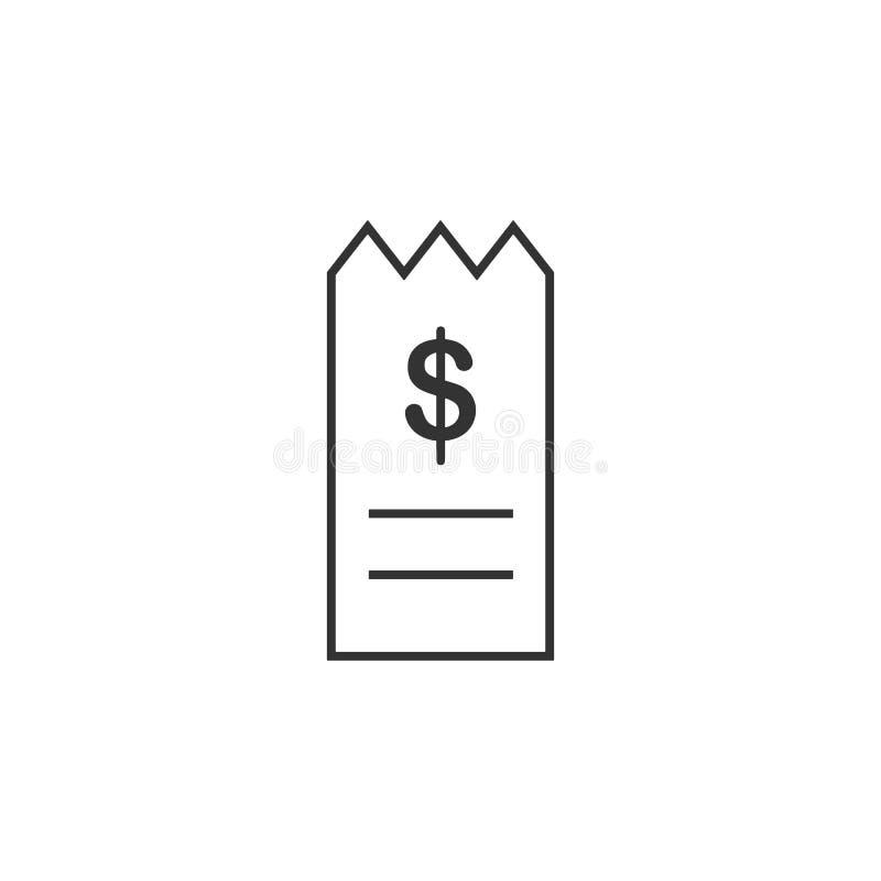 Rekening, rekening, het pictogram van de ontvangstbewijslijn Eenvoudige, moderne vlakke vectorillustratie voor mobiele app, websi royalty-vrije illustratie
