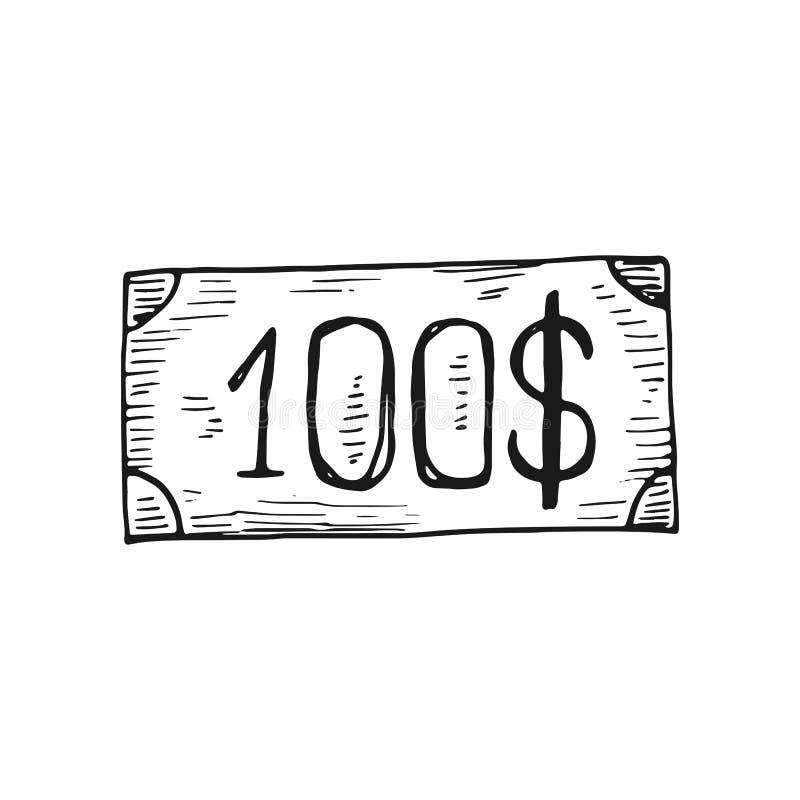 Rekening honderd dollarspictogram Geïsoleerdj op witte achtergrond royalty-vrije illustratie
