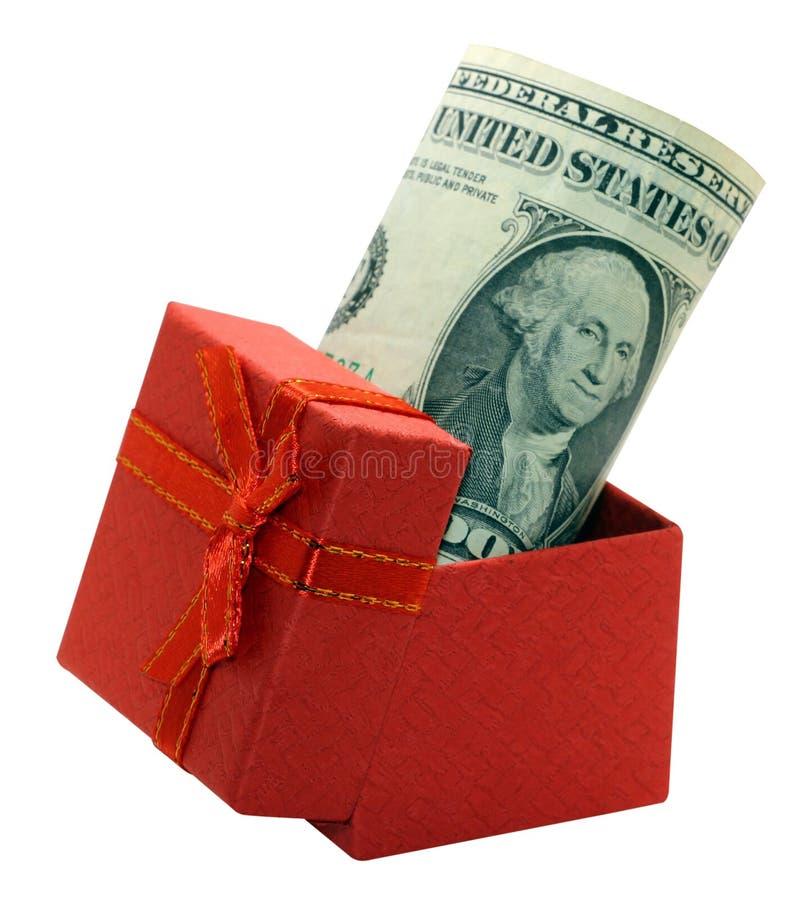 Rekeningendollars en in houten die doos, economieconcept van geldbesparingen van een bevolking van mensen, op witte achtergrond w stock foto's