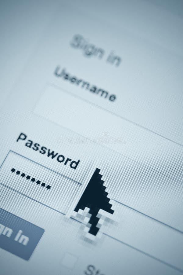 Rekeningsgebruikersbenaming en wachtwoord stock foto