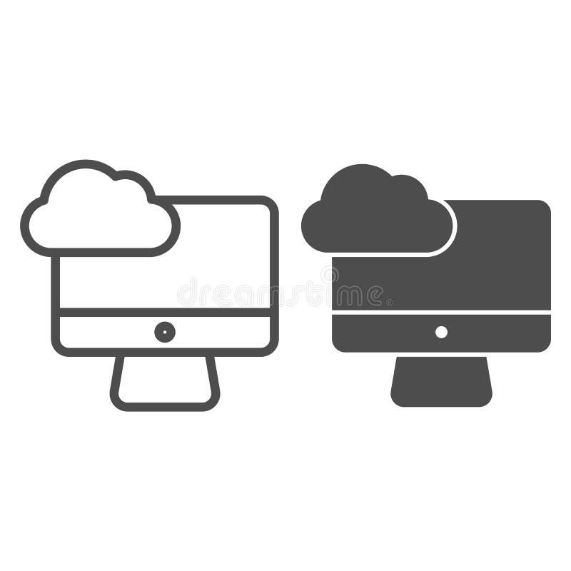 Rekenlijn voor cloud computing op desktopniveau en pictogram voor glyph Synchroniseer wolk op de vectorillustratie van pc die op  stock illustratie