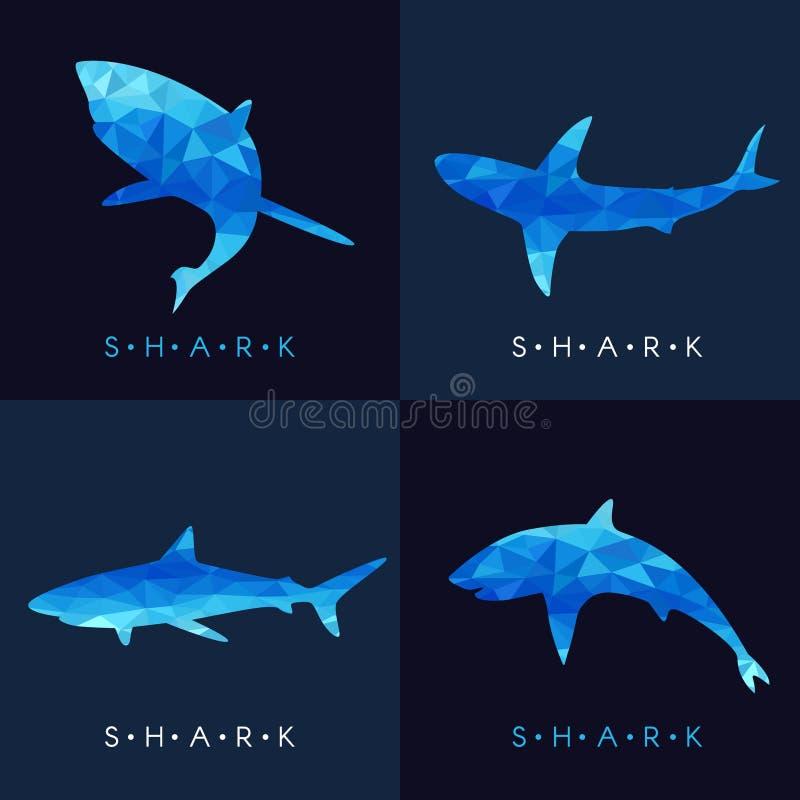 Rekin - Błękitnego niskiego poli- wektoru ustalony projekt ilustracji
