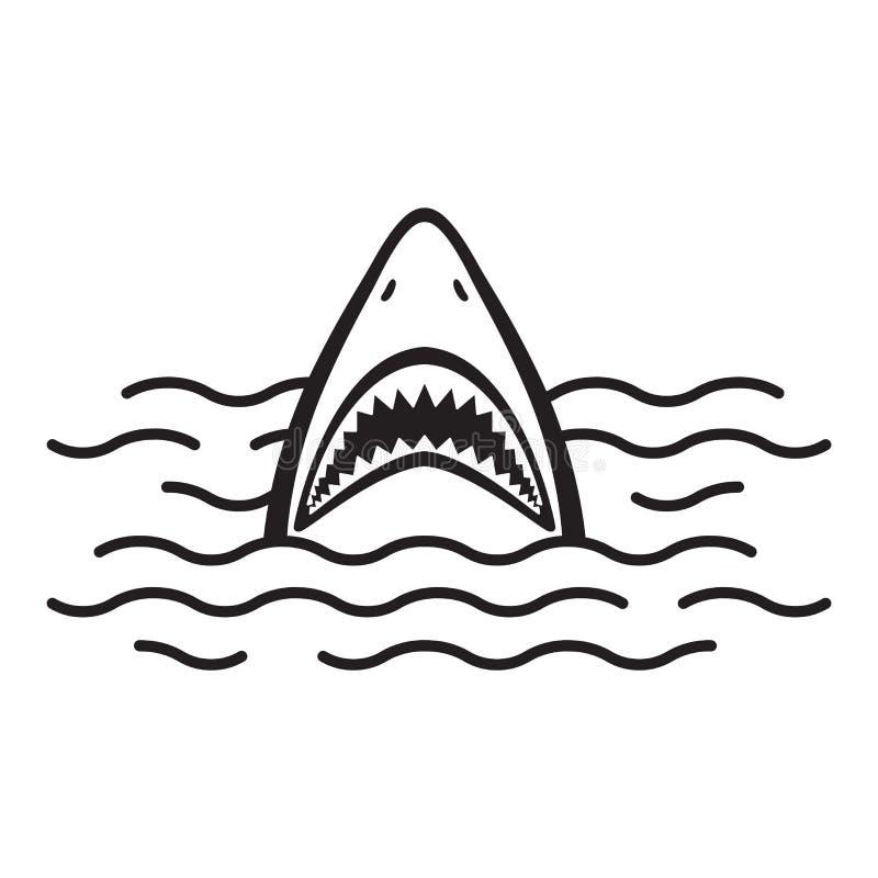 Rekin ikony loga usta oceanu Dennego delfinu wielorybia ilustracyjna kreskówka royalty ilustracja