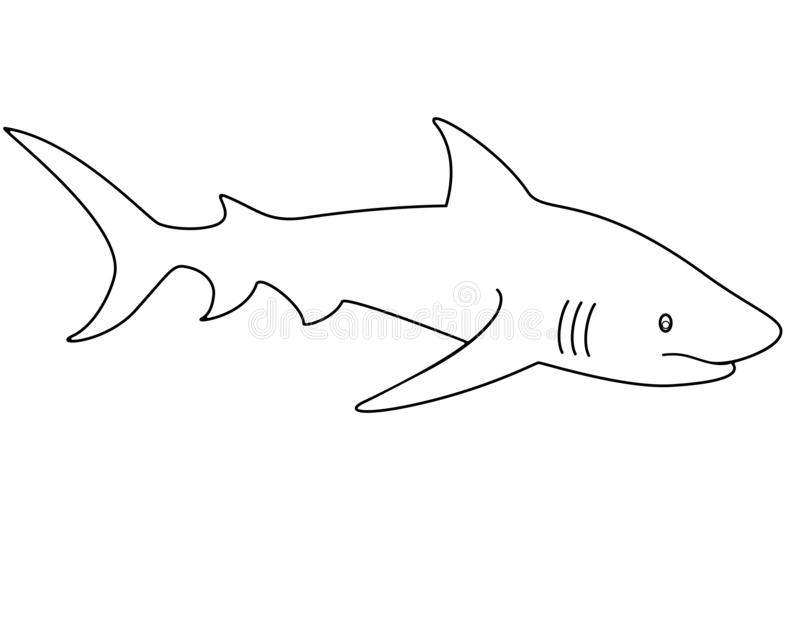 Rekin - liniowy wektorowy szablon dla barwi? kontur Wektorowy zwierz? - rekin ilustracji