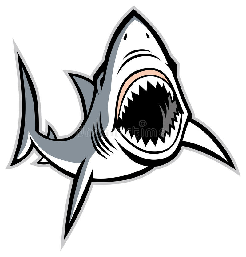 Rekin z rozpieczętowanym usta ilustracja wektor