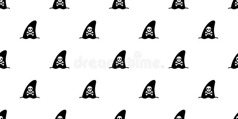 Rekinu żebra delfinu pirata czaszki crossbones powtórki tapety płytki bezszwowy deseniowy wielorybi szalik odizolowywający Hallow royalty ilustracja