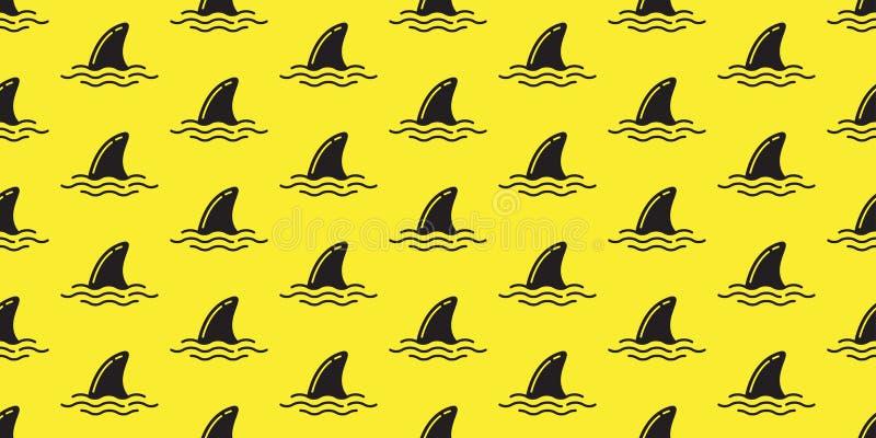 Rekinu żebra bezszwowy deseniowy delfin odizolowywał oceanu tła tapetę ilustracja wektor