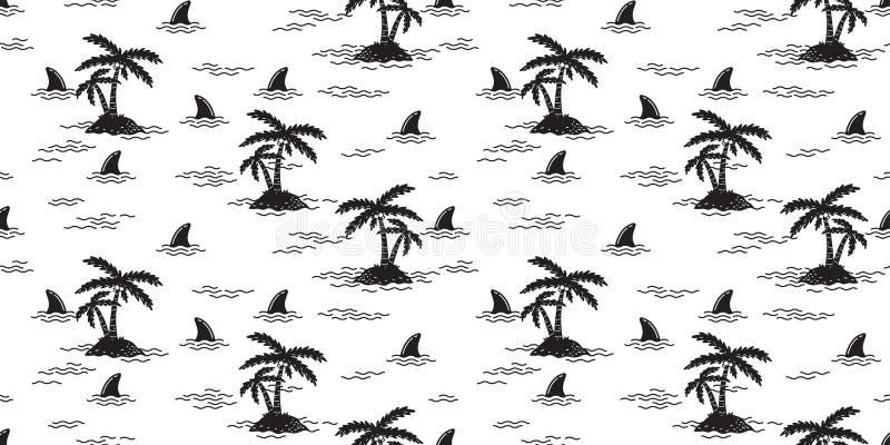 Rekinu żebra drzewka palmowego kokosowego drzewa bezszwowego deseniowego delfinu oceanu fala wielorybia wektorowa wyspa odizolowy royalty ilustracja