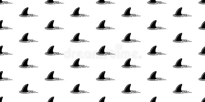 Rekinu żebra oceanu fala wyspy plaży tapety bezszwowy deseniowy delfin odizolowywający wielorybi denny tło ilustracji