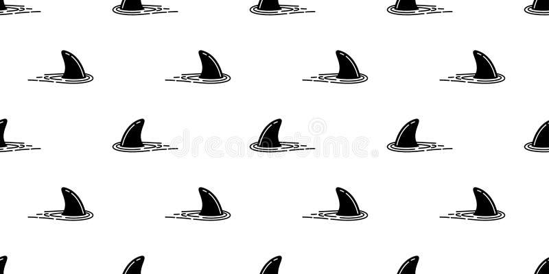 Rekinu żebra oceanu fala wyspy wielorybiej dennej plaży lata tła bezszwowy deseniowy delfin odizolowywająca tropikalna tapeta ilustracji