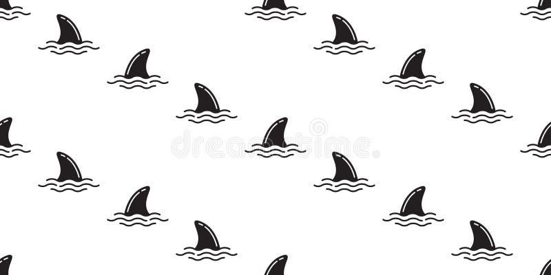 Rekinu żebra oceanu fala wyspy wielorybiej dennej plaży lata tapety bezszwowy deseniowy delfin odizolowywający tropikalny tło ilustracja wektor