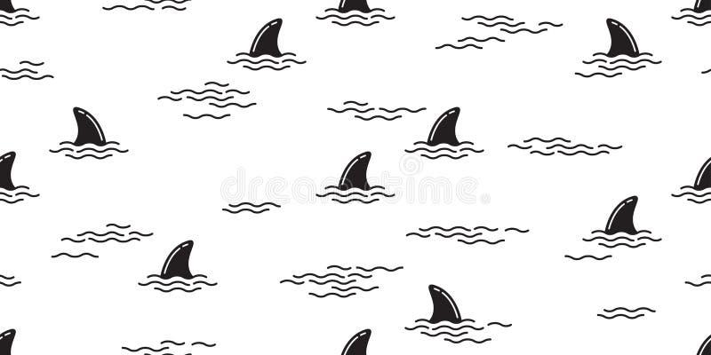 Rekinu żebra oceanu fala wyspy wielorybiej dennej plaży tła bezszwowy deseniowy delfin odizolowywająca tropikalna tapeta ilustracja wektor