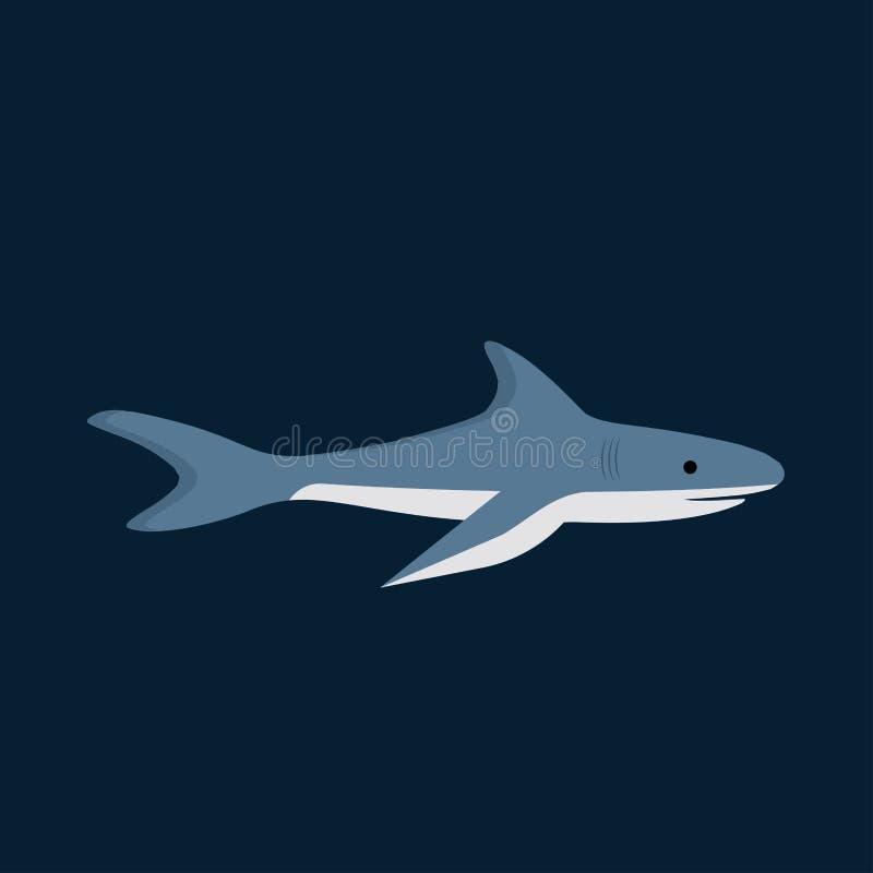 Rekinu bocznego widoku natury przyrody niebezpieczeństwa nadwodna rybia wektorowa ikona Podwodna błękitna zwierzęca denna ilustra royalty ilustracja