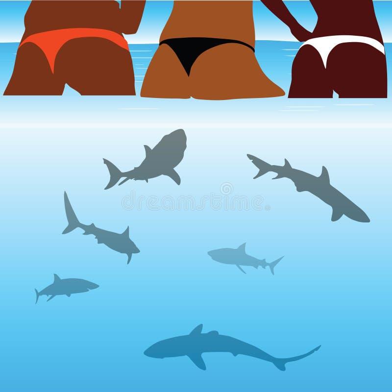 Rekinu i piękno bikini dziewczyna ilustracja wektor