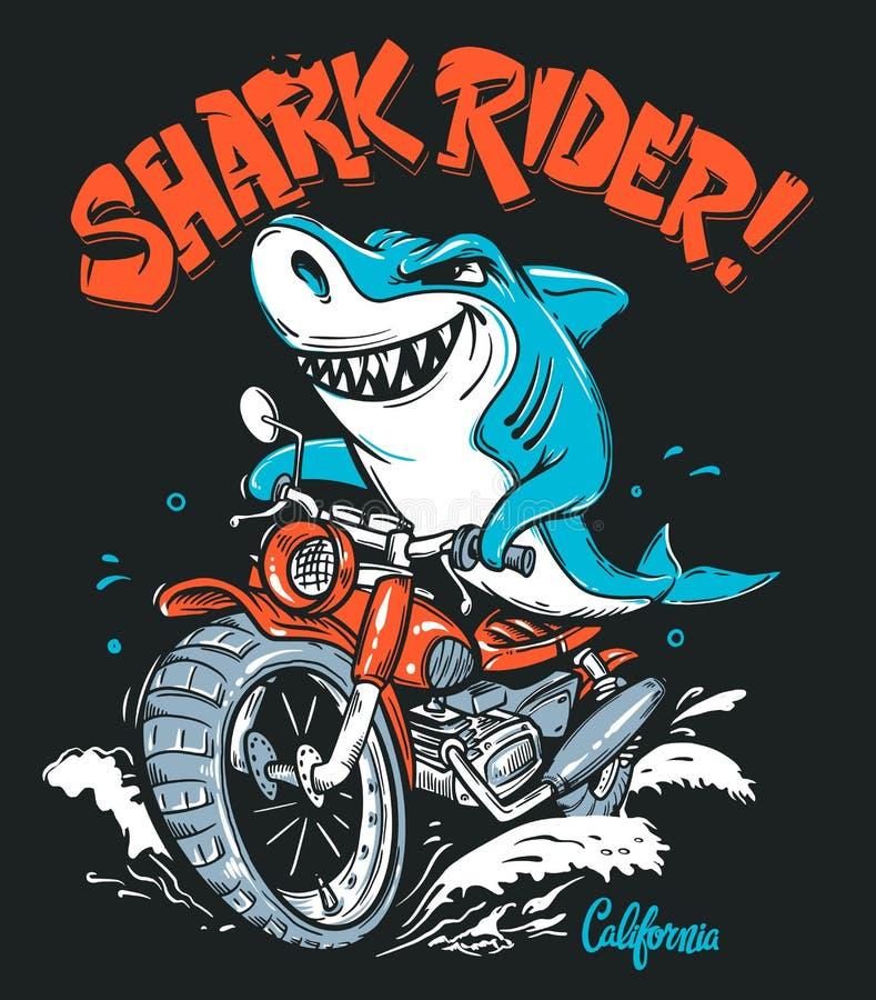 Rekinu jeździec na motocykl koszulki wektorowym projekcie royalty ilustracja