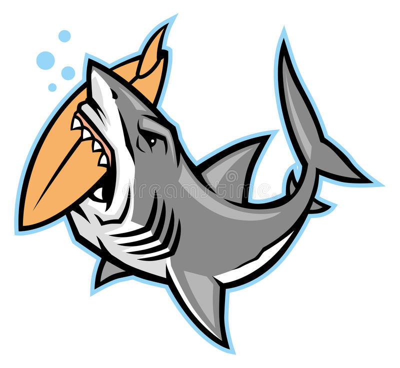 Rekinu kąsek surfboard ilustracja wektor