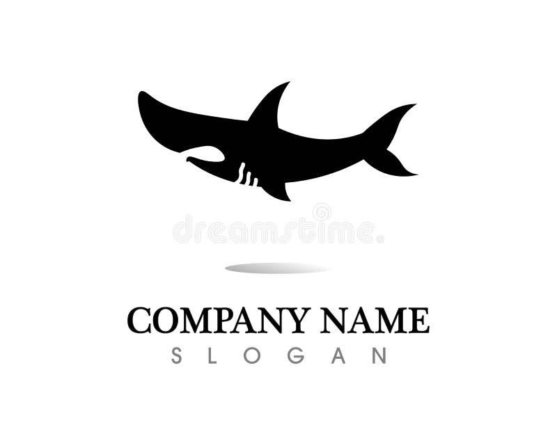 Rekinu logo szablon i projekta wektoru ryby dziki denny zwierzę ilustracja wektor