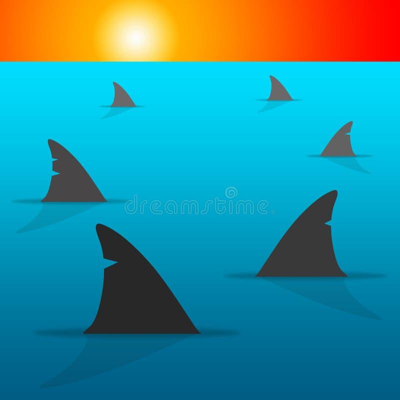 Rekinu morze royalty ilustracja