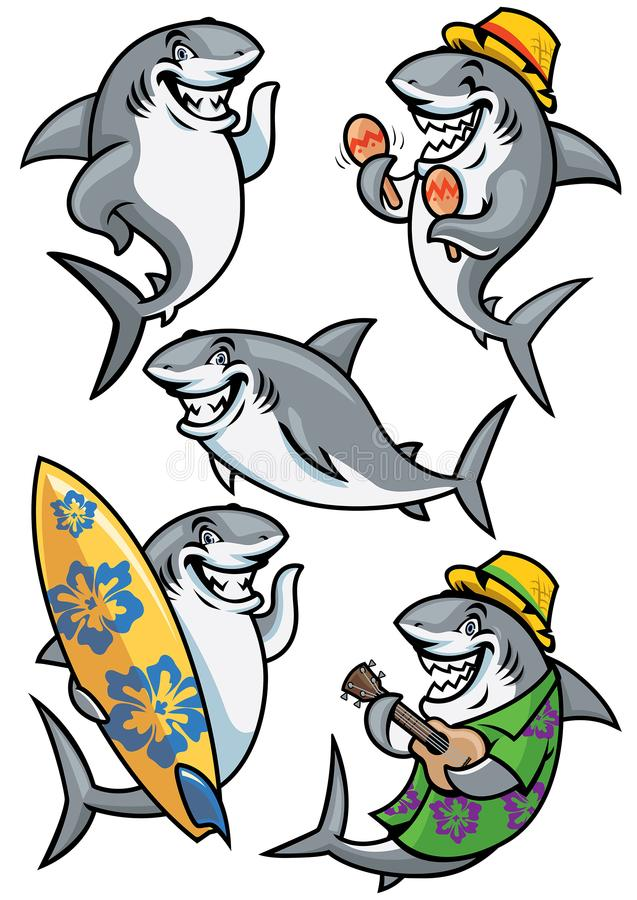 Rekinu postać z kreskówki - set ilustracji