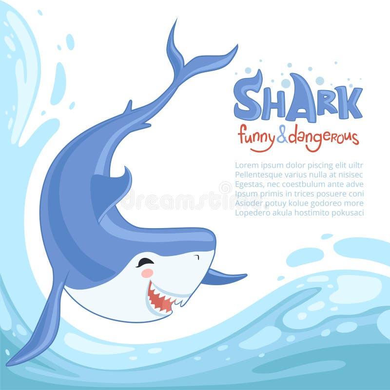 Rekinu szturmowy tło Błękitna niebezpieczna ryba pływa denną ocean wodę z dużymi zębami Wektorowy kreskówki tła zwierzę ilustracji