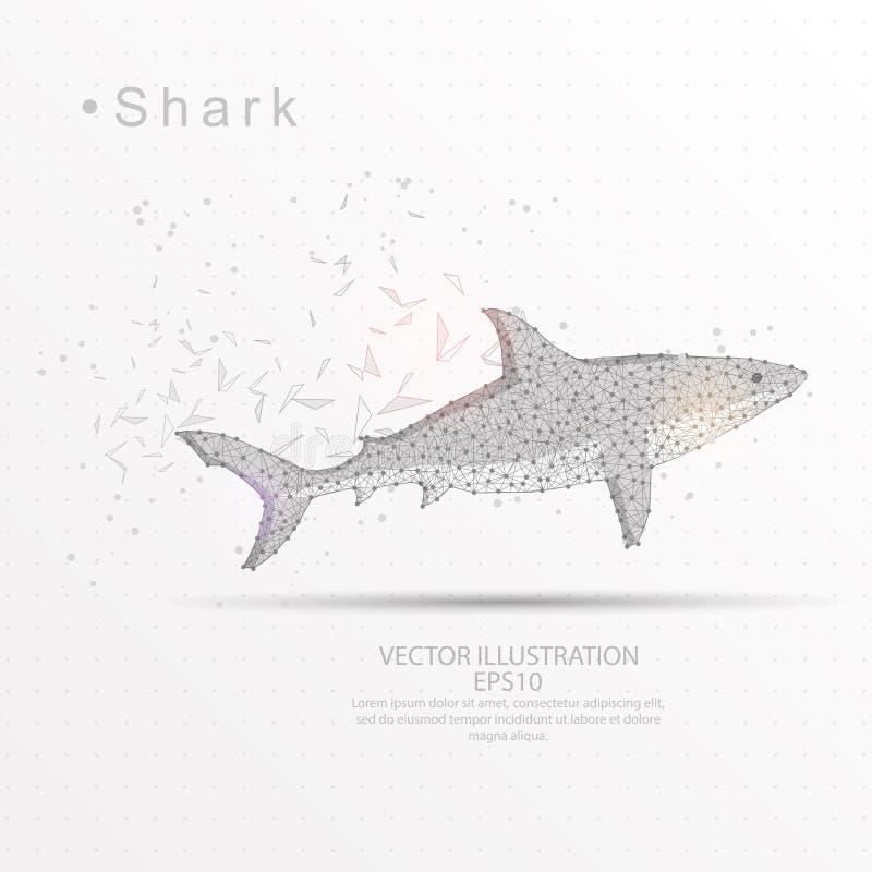 Rekinu trójboka drutu cyfrowo rysująca niska poli- rama royalty ilustracja