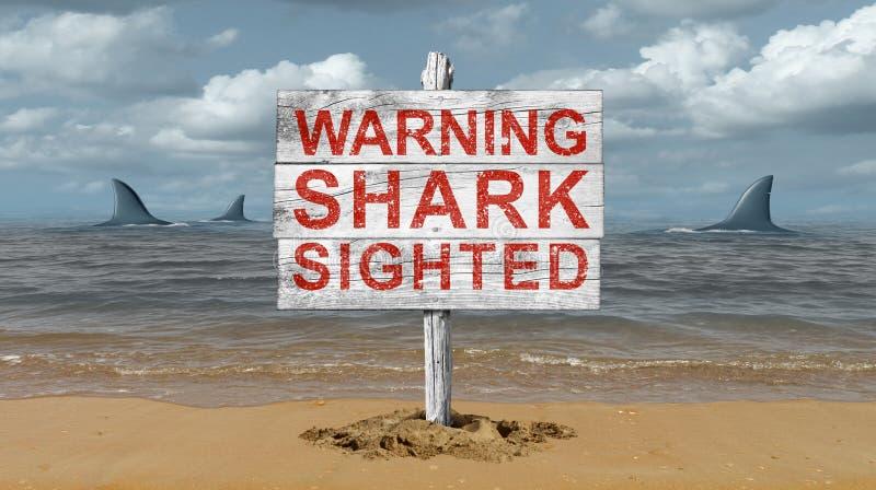 Rekinu znak ostrzegawczy royalty ilustracja
