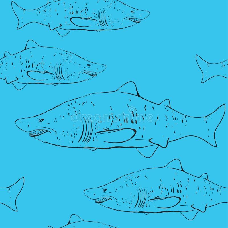 Rekiny w wodzie Czarny kontur na błękitnym tle Sketc royalty ilustracja