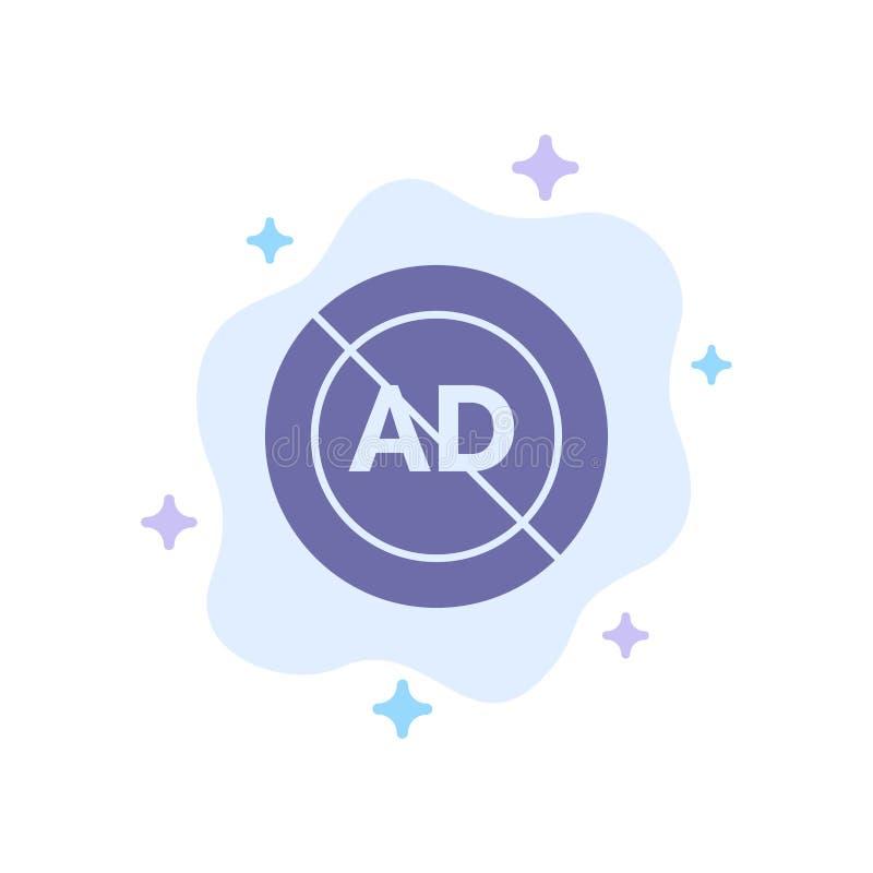 Reklama, reklama blok, reklama, reklama, Blokowa Błękitna ikona na abstrakt chmury tle ilustracja wektor