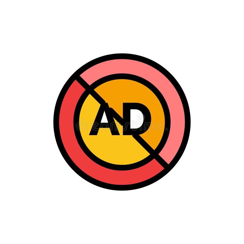 Reklama, reklama blok, reklama, reklama, Blokowa Płaska kolor ikona Wektorowy ikona sztandaru szablon ilustracja wektor