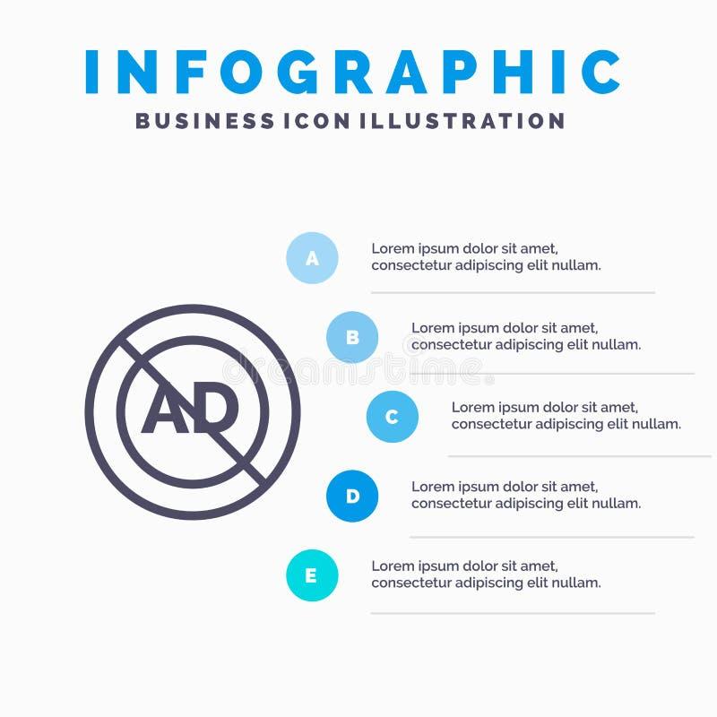 Reklama, reklama blok, reklama, reklama, Blokowej linii ikona z 5 kroków prezentacji infographics tłem ilustracji