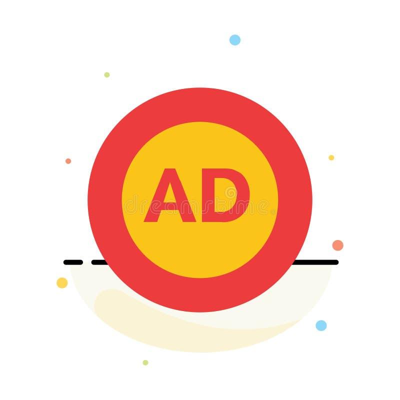 Reklama, reklama blok, reklama, reklama, Blokowy Abstrakcjonistyczny Płaski kolor ikony szablon ilustracja wektor