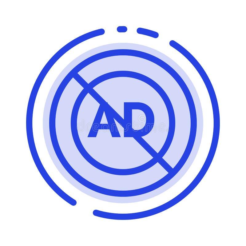 Reklama, reklama blok, reklama, reklama, Blokowy błękit Kropkująca linii linii ikona ilustracji