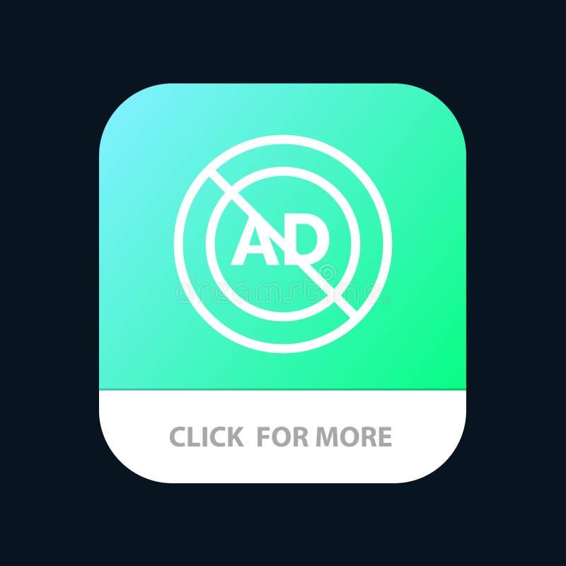 Reklama, reklama blok, reklama, reklama, Blokowy Mobilny App guzik Android i IOS linii wersja ilustracji