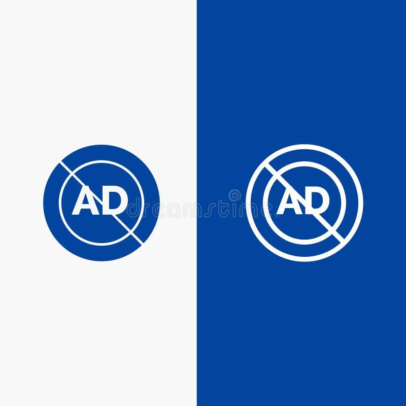 Reklama, reklama blok, Stała ikona sztandaru glifu, reklamy, reklamy, Blokowej linii i glifu, Błękitnej i linii ikony błękita Sta ilustracja wektor