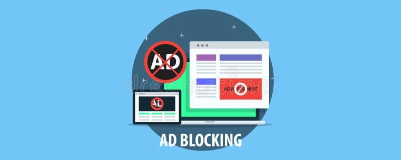 Reklama bloking - blokowe rozzłościć reklamy na stronie internetowej i wideo Płaski projekta wektoru sztandar ilustracji