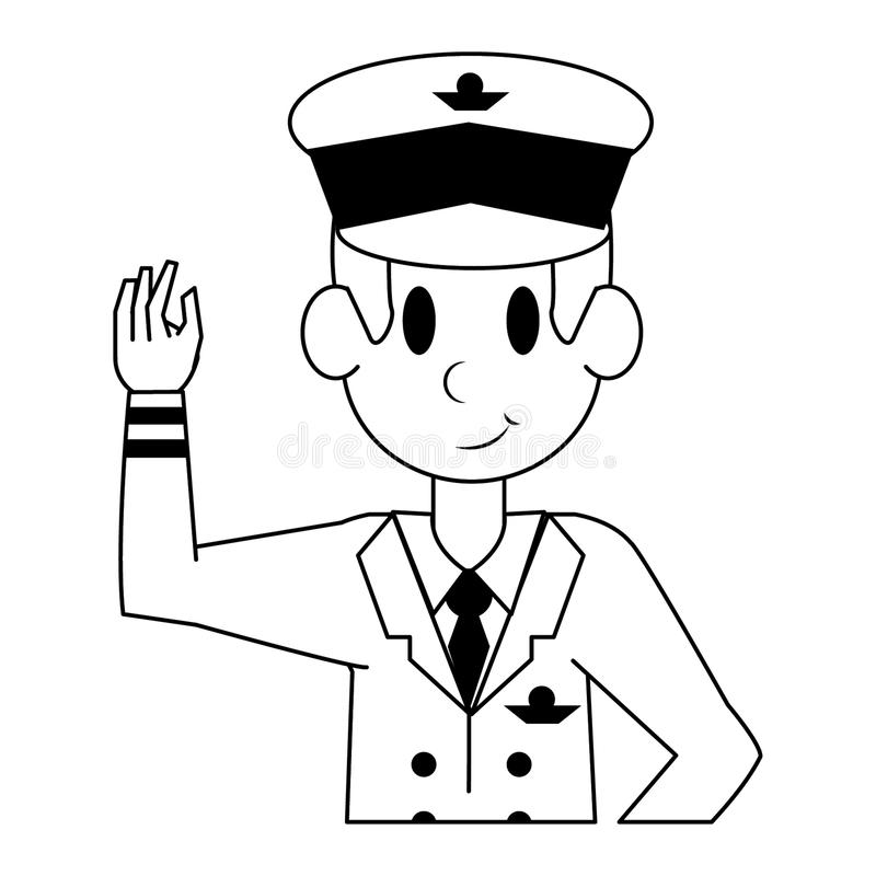 Reklama charakteru pilotowa fachowa kresk?wka w czarny i bia?y ilustracji