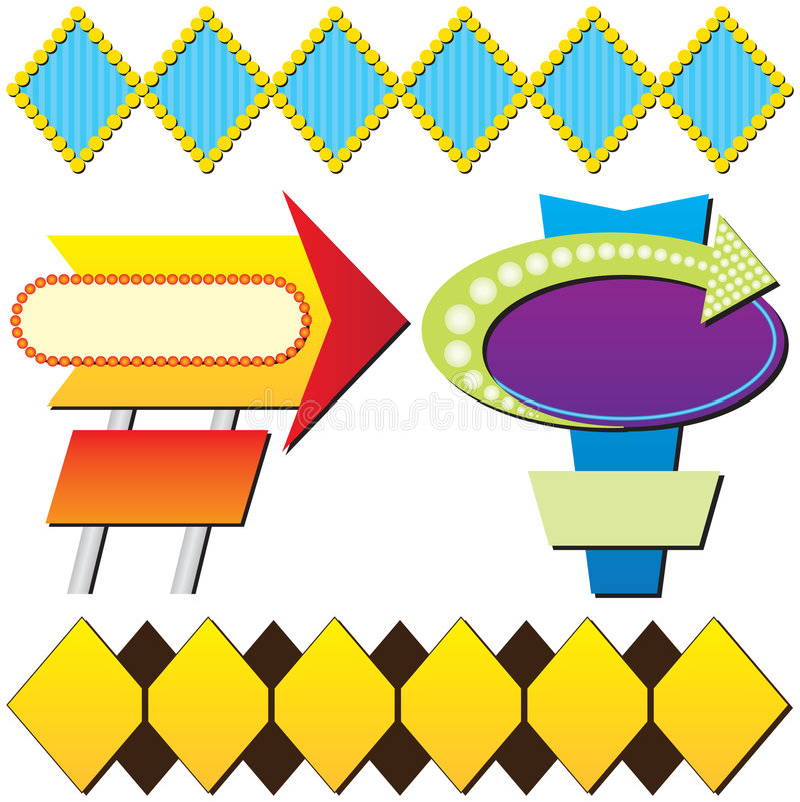 reklama cztery retro znaku ilustracja wektor
