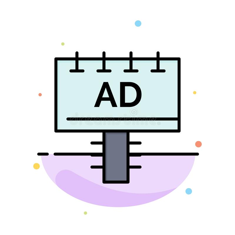 Reklama, deska, reklama, Signboard koloru ikony Abstrakcjonistyczny Płaski szablon ilustracja wektor