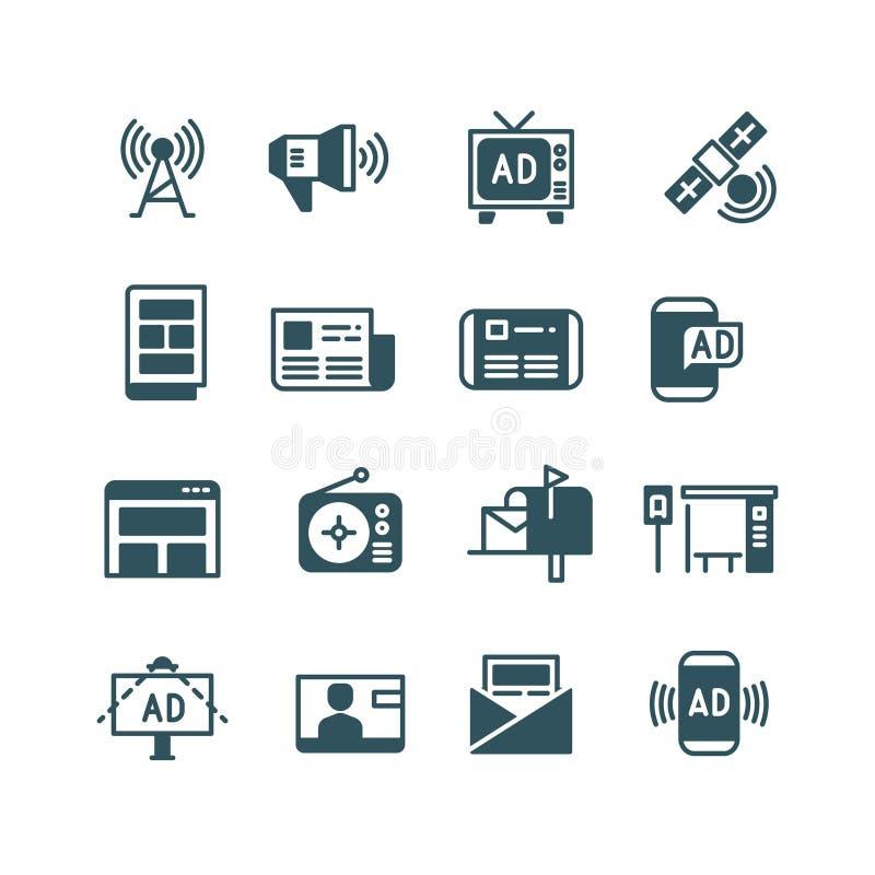 Reklama na ekranie, reklamowa telewizja, plenerowa reklama, online reklama wektoru ikony ilustracja wektor