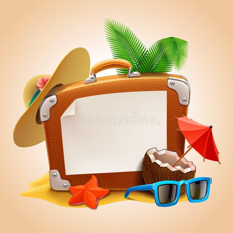 Reklama na podróży walizce ilustracja wektor