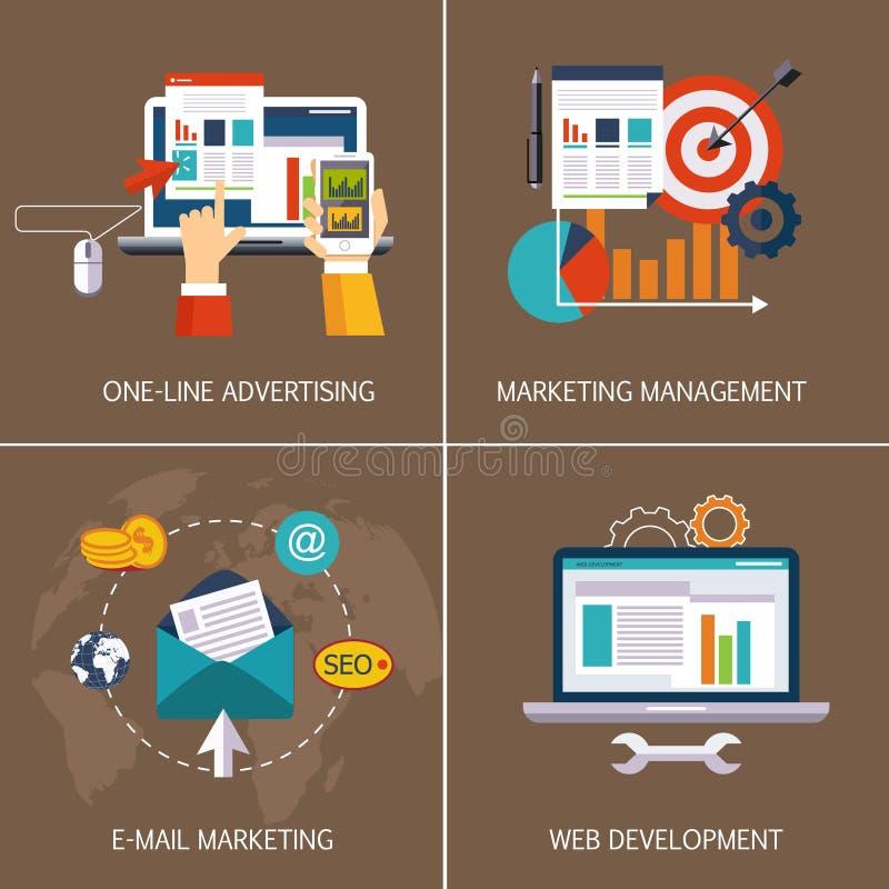Reklama online, emaila marketing, sieć ilustracji