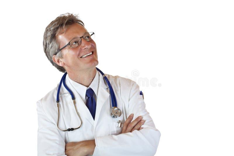 reklama starzał się doktorską szczęśliwą spojrzeń samiec przestrzeń szczęśliwy obrazy stock
