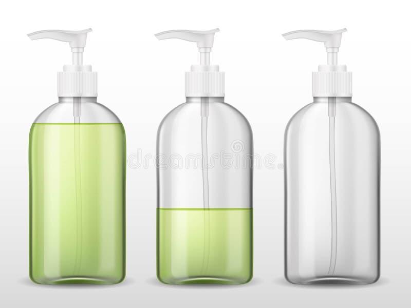 Reklama szablonu mockup realistyczna plastikowa butelka z aptekarki pompy, pełnego i pustego zbiornikiem z zielenią bezpowietrzny royalty ilustracja