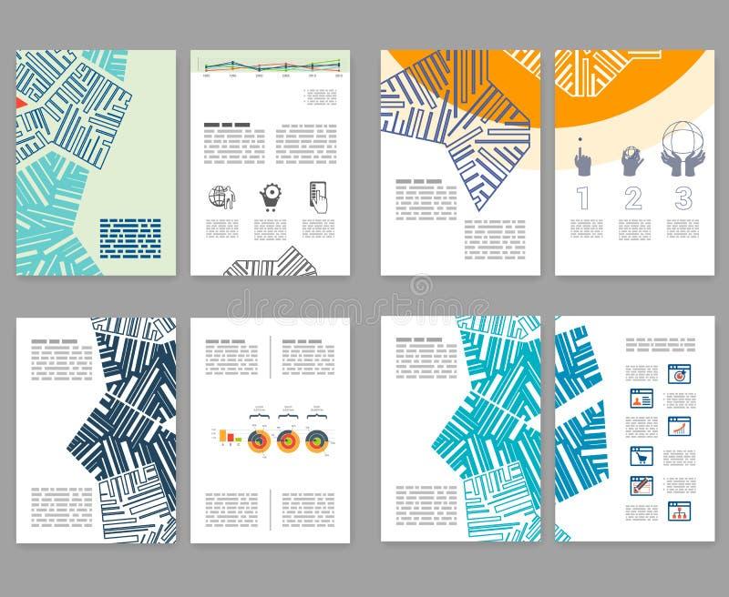 Reklamblad broschyr, häfteorienteringsuppsättning Redigerbar designmall A4 royaltyfri illustrationer