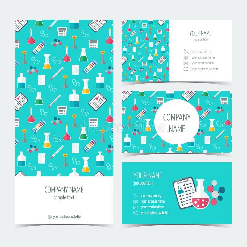 Reklamblad, broschyr och affärskort för de kemiska, vetenskapliga och medicinska företagen Plan design vektor vektor illustrationer