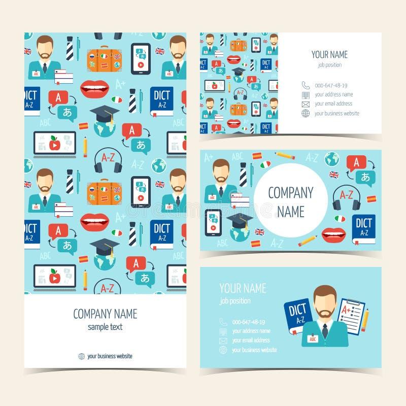 Reklamblad, broschyr och affärskort för kurser och skolor för utländskt språk Uppsättning av befordrings- produkter Plan design v stock illustrationer